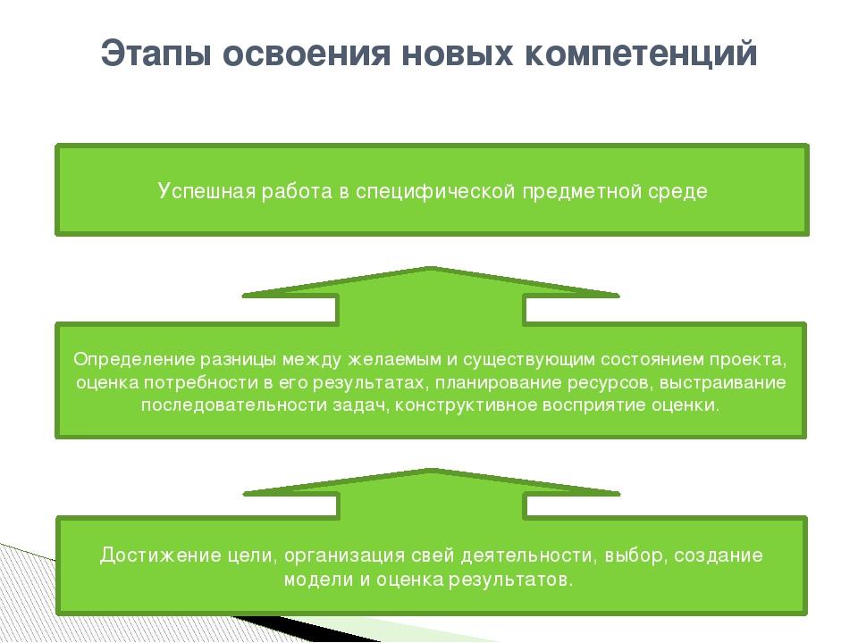 Этапы освоения новых компетенций Достижение цели, организация свей деятельнос...
