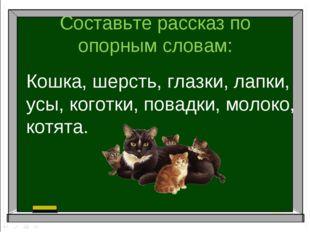 Составьте рассказ по опорным словам: Кошка, шерсть, глазки, лапки, усы, когот