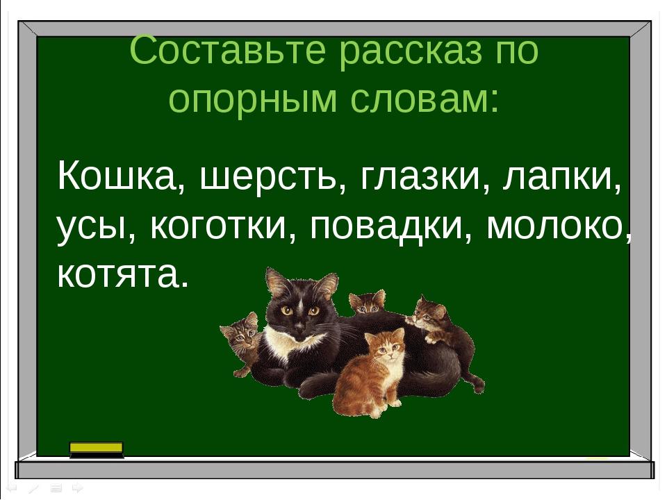 Составьте рассказ по опорным словам: Кошка, шерсть, глазки, лапки, усы, когот...
