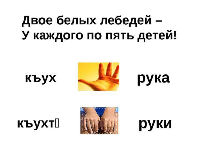 Двое белых лебедей – У каждого по пять детей! рука руки къух къухтӕ