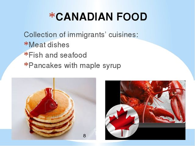 CANADIAN FOOD Collection of immigrants' cuisines: Meat dishes Fish and seafoo...