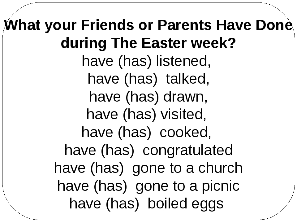 What your Friends or Parents Have Done during The Easter week? have (has) lis...