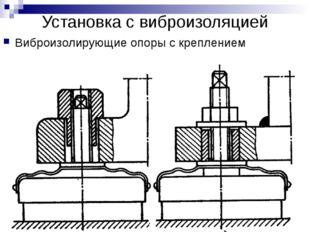 Установка с виброизоляцией Виброизолирующие опоры с креплением