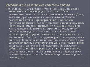 Воспоминания из дневника советских воинов Шел бой. Вдруг со стороны духов ого