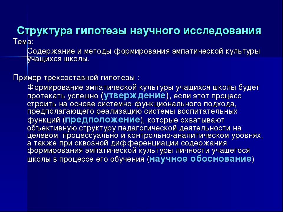 Структура гипотезы научного исследования Тема: Содержание и методы формиров...