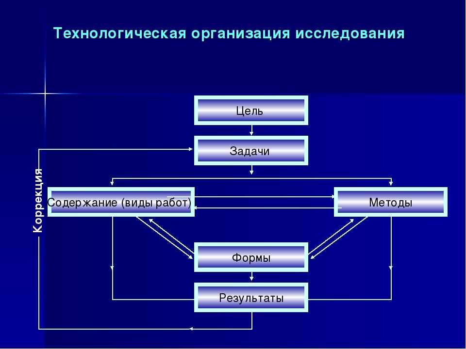 Технологическая организация исследования Коррекция Цель Задачи Формы Содержан...
