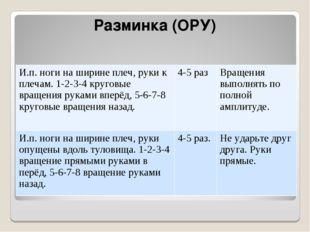 Разминка (ОРУ) И.п. ноги на ширине плеч, руки к плечам. 1-2-3-4 круговые вращ
