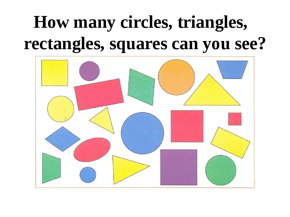 How many circles, triangles, rectangles, squares can you see?