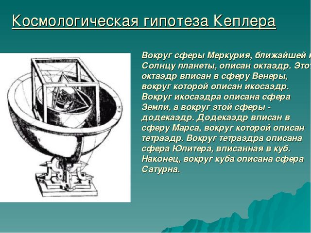 Космологическая гипотеза Кеплера Вокруг сферы Меркурия, ближайшей к Солнцу пл...