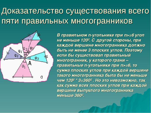 Доказательство существования всего пяти правильных многогранников В правильно...