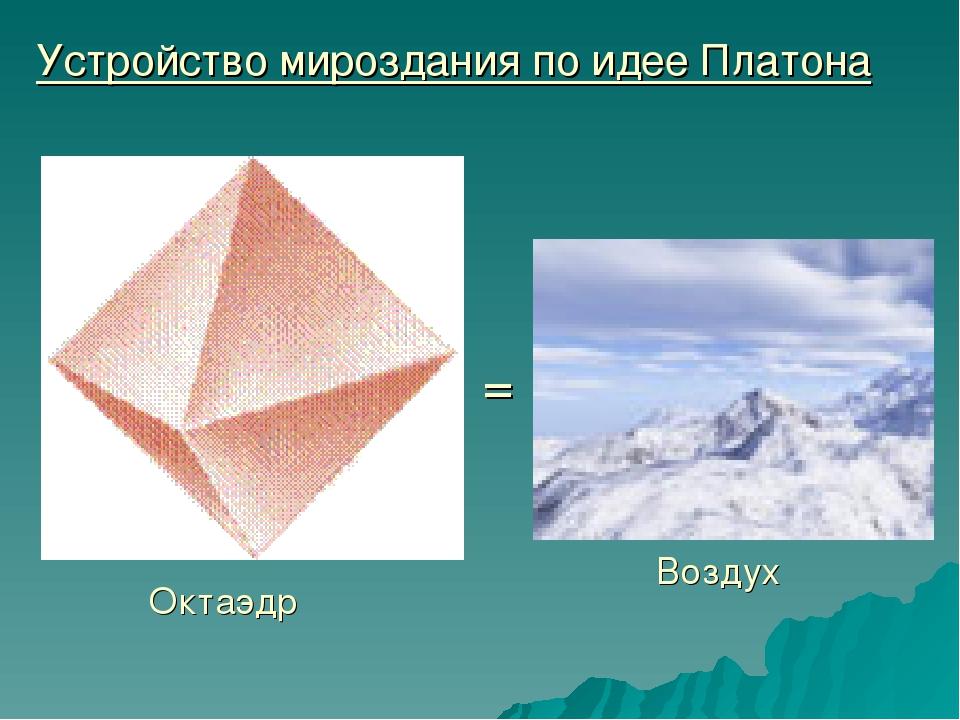 Устройство мироздания по идее Платона Октаэдр = Воздух