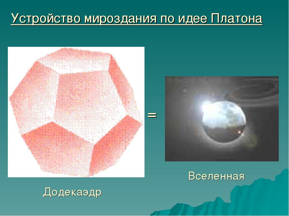 Устройство мироздания по идее Платона Додекаэдр = Вселенная