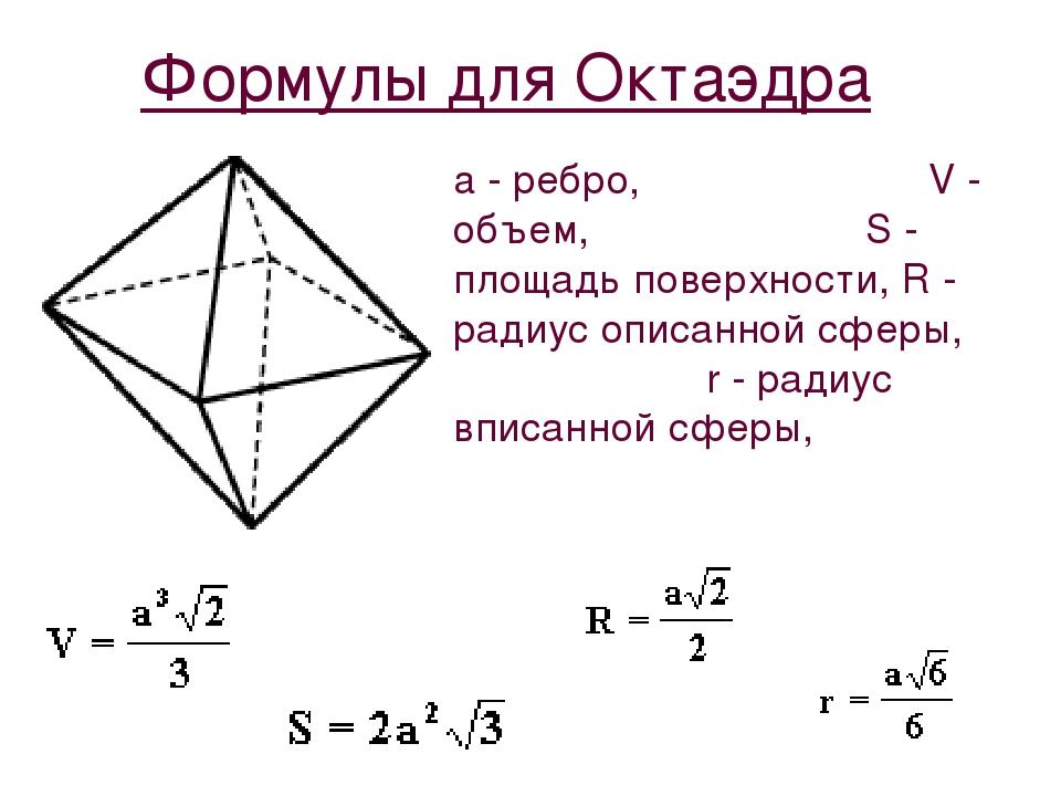 Формулы для Октаэдра a - ребро, V - объем, S - площадь поверхности, R - радиу...