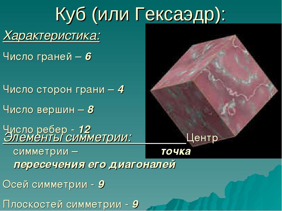 Куб (или Гексаэдр): Характеристика: Число граней – 6 Число сторон грани – 4 Ч...