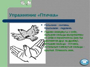 Упражнение «Птичка» Пальчики - головка, Крылышки - ладошка. Ладони повернуты
