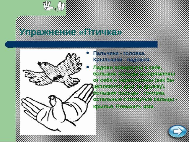 Упражнение «Птичка» Пальчики - головка, Крылышки - ладошка. Ладони повернуты...