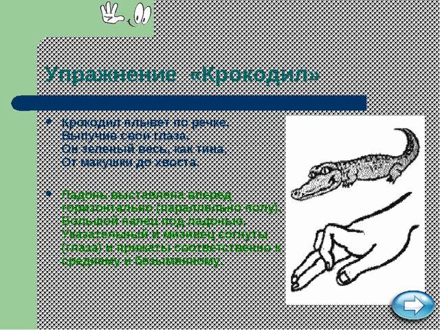 Упражнение «Крокодил» Крокодил плывет по речке, Выпучив свои глаза. Он зелены...
