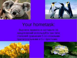 Your hometask: Выучите правило и составьте 10 предложений используйте три тип