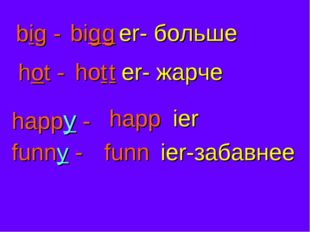 big - big g er- больше hot - hot t er- жарче happy - happ ier funny - funn ie