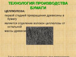 ТЕХНОЛОГИЯ ПРОИЗВОДСТВА БУМАГИ ЦЕЛЛЮЛОЗА: первой стадией превращения древесин