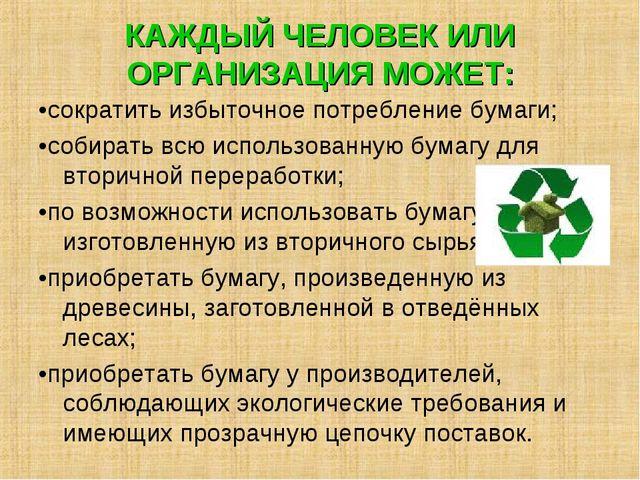 КАЖДЫЙ ЧЕЛОВЕК ИЛИ ОРГАНИЗАЦИЯ МОЖЕТ: •сократить избыточное потребление бумаг...
