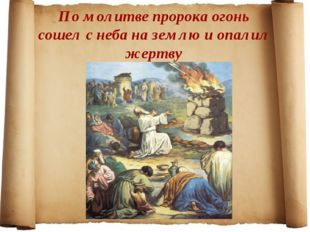 По молитве пророка огонь сошел с неба на землю и опалил жертву