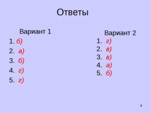 Ответы Вариант 1 б) 2. а) 3. б) 4. г) 5. г) * Вариант 2 1. г) 2. в) 3. в) 4.