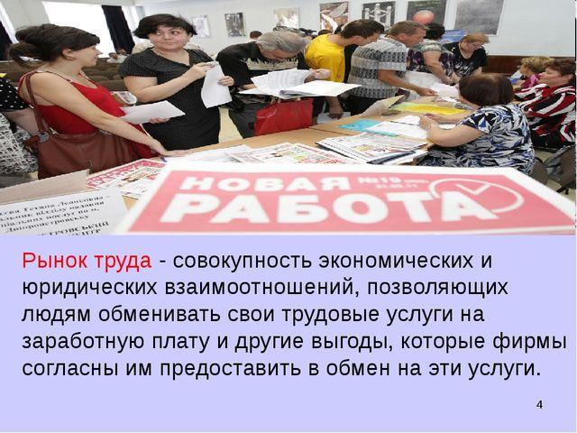 * Рынок труда - совокупность экономических и юридических взаимоотношений, поз...