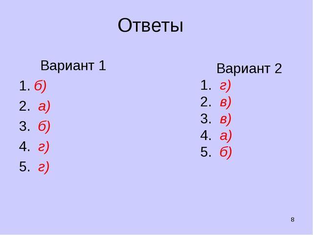 Ответы Вариант 1 б) 2. а) 3. б) 4. г) 5. г) * Вариант 2 1. г) 2. в) 3. в) 4....