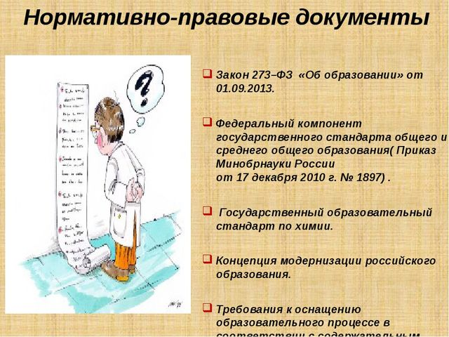 Нормативно-правовые документы Закон 273–ФЗ «Об образовании» от 01.09.2013. Фе...