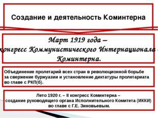Март 1919 года – I конгресс Коммунистического Интернационала – Коминтерна. Об