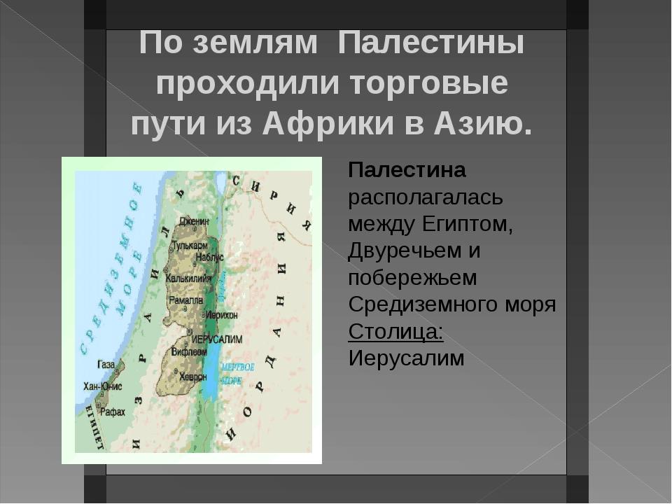 По землям Палестины проходили торговые пути из Африки в Азию. Палестина распо...