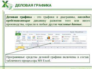 ДЕЛОВАЯ ГРАФИКА Деловая графика - это графики и диаграммы, наглядно представл