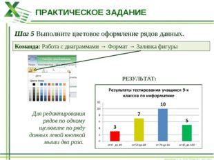 ПРАКТИЧЕСКОЕ ЗАДАНИЕ Шаг 5 Выполните цветовое оформление рядов данных. Команд