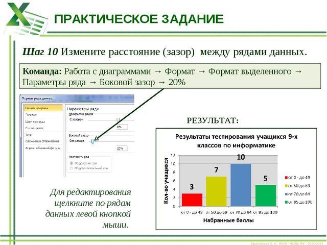 ПРАКТИЧЕСКОЕ ЗАДАНИЕ Шаг 10 Измените расстояние (зазор) между рядами данных....