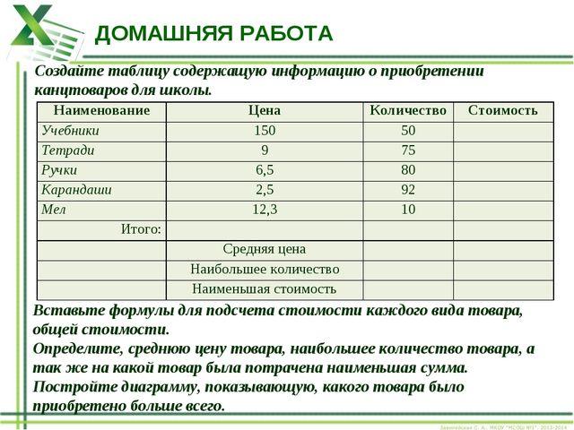 ДОМАШНЯЯ РАБОТА Создайте таблицу содержащую информацию о приобретении канцтов...