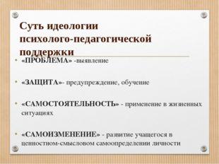 Суть идеологии психолого-педагогической поддержки «ПРОБЛЕМА» -выявление «ЗАЩИ
