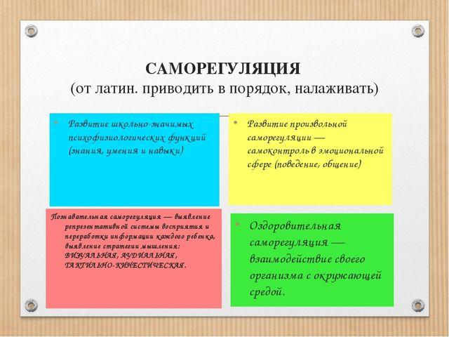 САМОРЕГУЛЯЦИЯ (от латин. приводить в порядок, налаживать) Развитие школьно-зн...