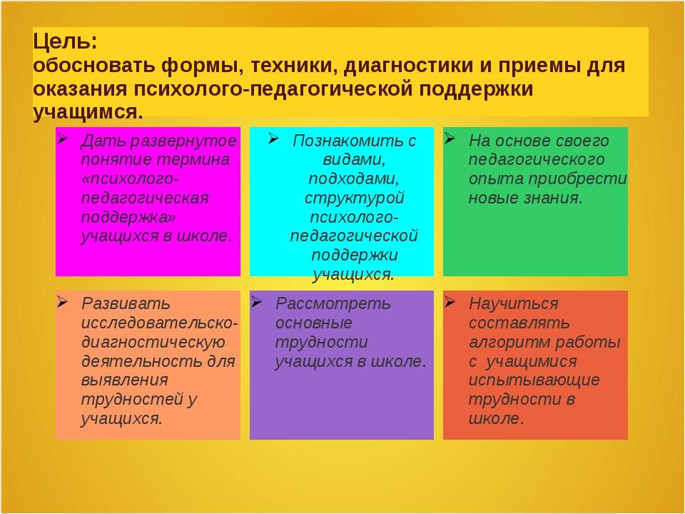 Цель: обосновать формы, техники, диагностики и приемы для оказания психолого-...