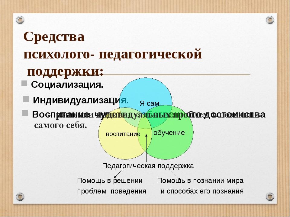 Средства психолого- педагогической поддержки: Воспитание чувства собственного...