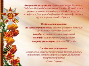 Актуальность проекта: Проект посвящен 70-летию Победы в Великой Отечественной