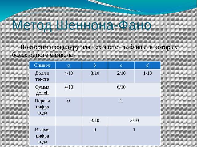 Метод Шеннона-Фано Повторим процедуру для тех частей таблицы, в которых более...