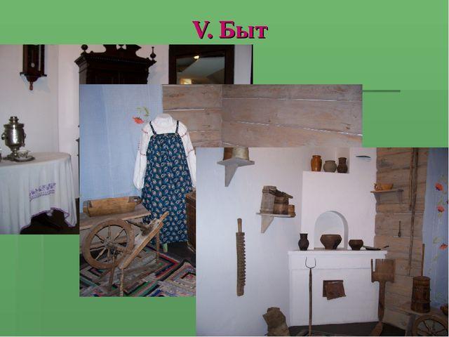 V. Быт
