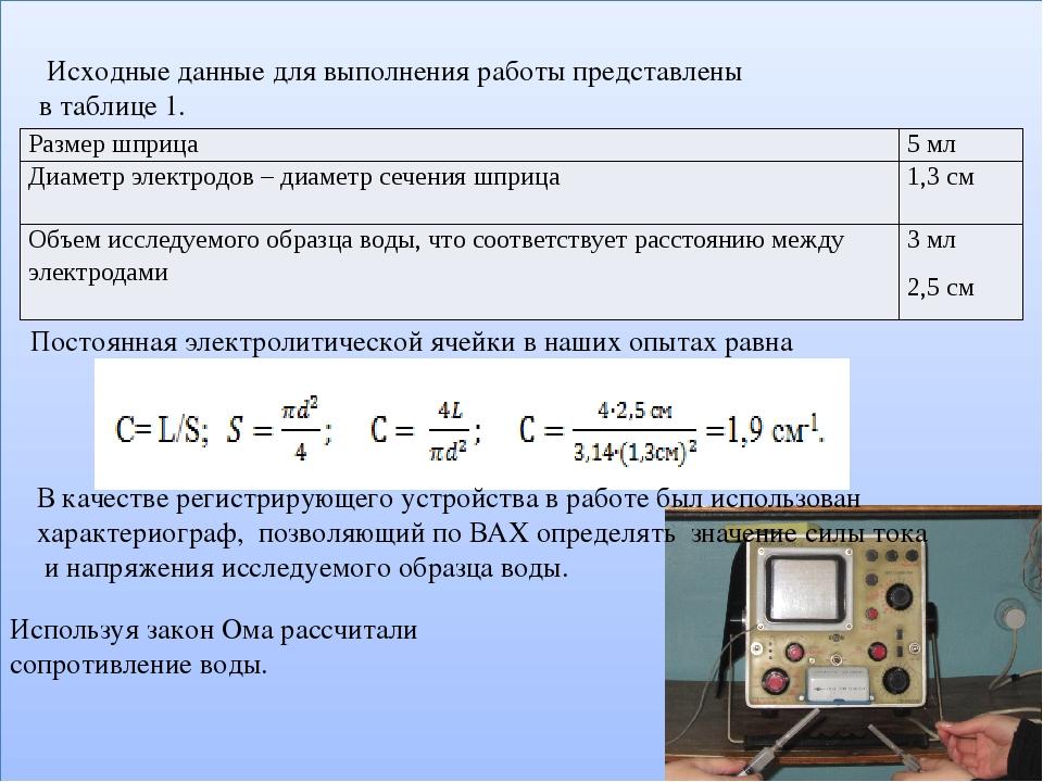 Постоянная электролитической ячейки в наших опытах равна Исходные данные для...