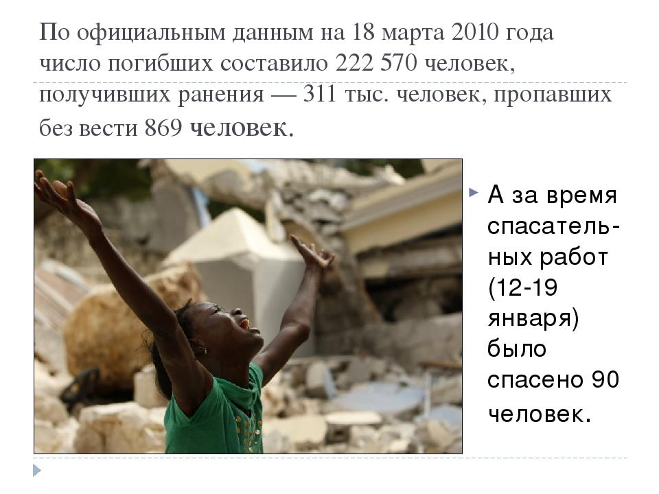 По официальным данным на 18 марта 2010 года число погибших составило 222 570...