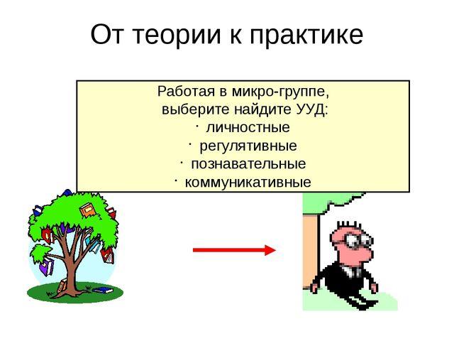 От теории к практике Работая в микро-группе, выберите найдите УУД: личностные...