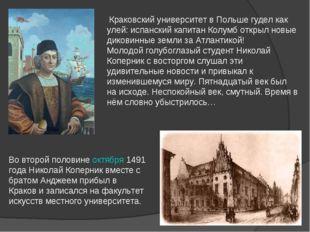 Во второй половинеоктября1491 года Николай Коперник вместе с братом Анджеем