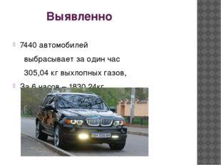 Выявленно 7440 автомобилей выбрасывает за один час 305,04 кг выхлопных г