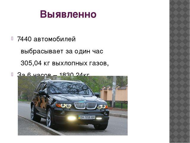 Выявленно 7440 автомобилей выбрасывает за один час 305,04 кг выхлопных г...