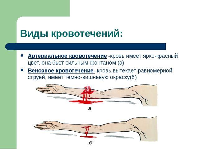 Виды кровотечений: Артериальное кровотечение -кровь имеет ярко-красный цвет,...